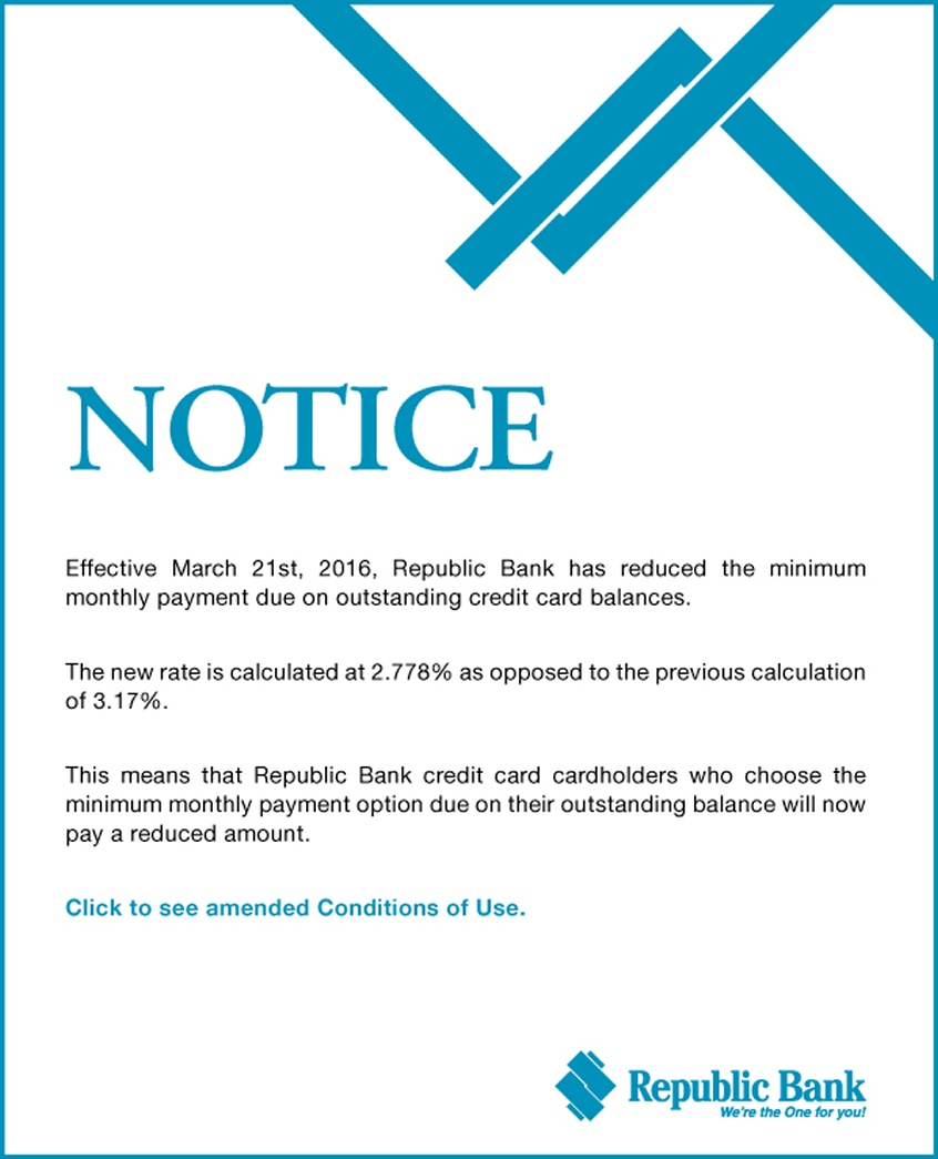 NOTICE: Credit Card Monthly Payment